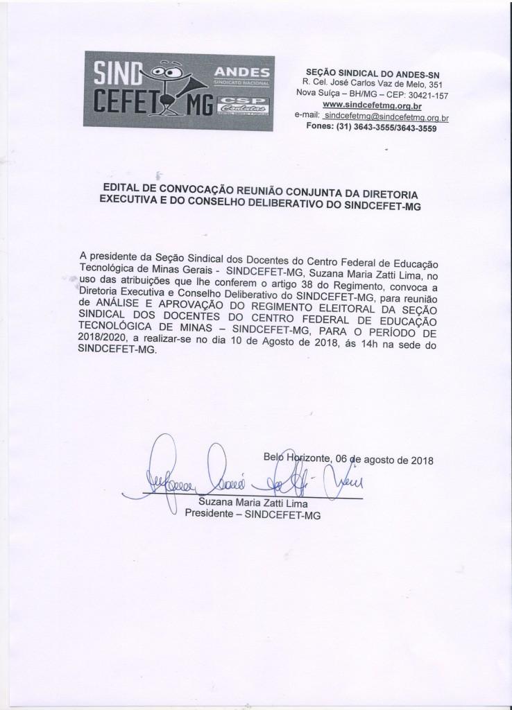 EDITAL DE CONVOCAÇÃO RENIÃO CONJUTA DA DIRETORIA EXECUTIVA E DO CONSELHO DELIBERATIVO